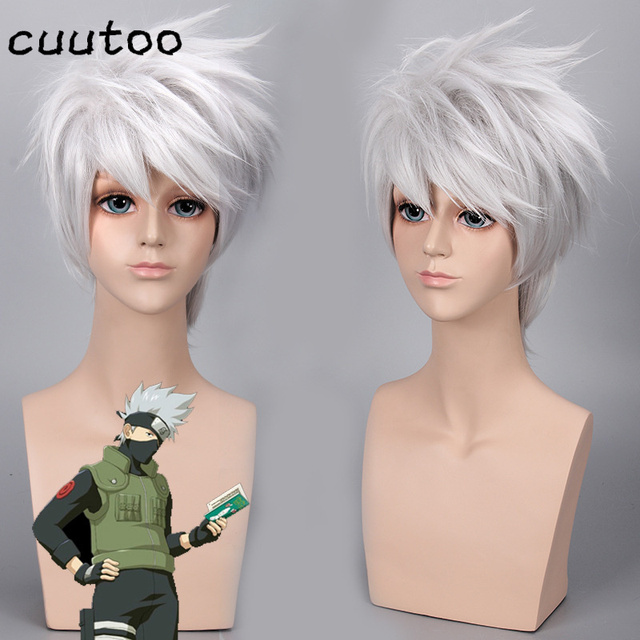 2016 New Design Naruto Hatake Kakashi Silvery Grey Famous Short Male Cosplay Wig Free Shipping