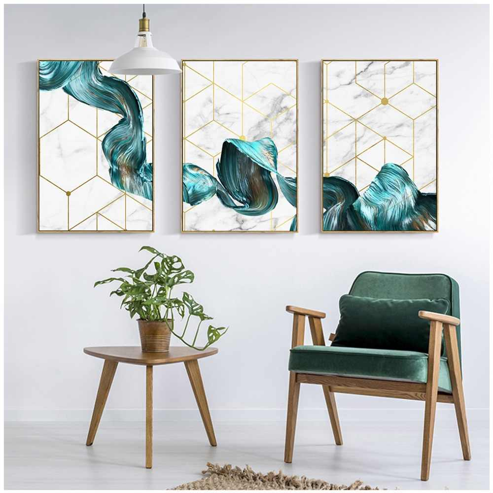 Gohipang Nordic Decorative Abstract Marble With Blue Gold Paint Canvas Painting Poster And Print Picture Wall Art Living Room