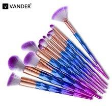 VANDER 12Pcs unicorn Professional Makeup Brushes Set Beauty Cosmetic Eyeshadow Lip Powder Face Pinceis Tools Kabuki Brush Kits