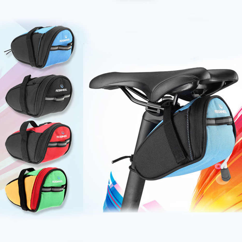 Anti-tear Bike MTB Bicycle Saddle Bags Bicycle Foldable Saddle Package(Upgraded) Reflector lamp Shock-proof Cycling Bags