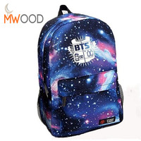 2016 Fashion Laptop Backpack Galaxy Printed BTS School Bag For Teenager Girls Canvas Men Outdoor Travel
