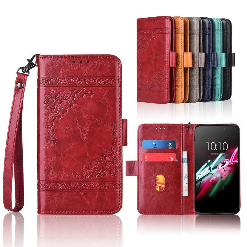 Чехол-бумажник для Alcatel 6039A 6039K 6039Y Idol 3 4,7 '', флип-чехол с ремешком, 100% специальный чехол-книжка из искусственной кожи с тиснением в виде цветов