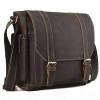 Tiding Cow Leather Messenger Bag Retro Style School Satchel Top Brand Bag Flip Cover Multi Pouches