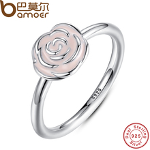 BAMOER 2016 NEW 925 Sterling Silver Rose Garden Stackable Ring Pink Enamel Ring for Women Wedding Original Fine Jewelry PA7134