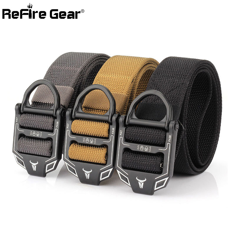 Apparel Accessories Persevering Refire Gear Military Equipment Tactical Belt Men Swat Us Soldiers Metal Buckle Durable Belts Heavy Duty Nylon Waist Belt 3.8cm Packing Of Nominated Brand