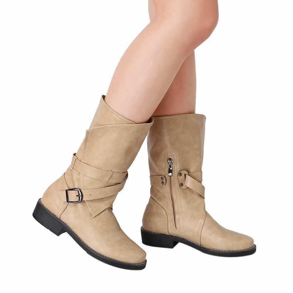 נשים של קצר מגפי נחש חורף עור אתחול אמצע צינור נמוך העקב אופנתי קלאסי רוכסן נעלי 2019 מרטין אתחול צבאי botas