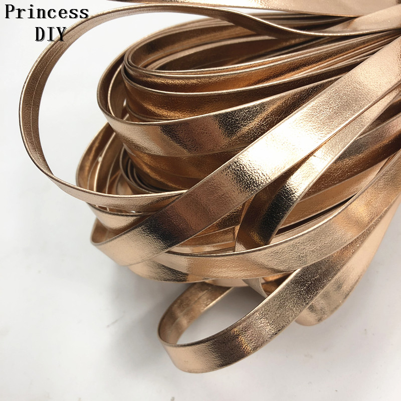10MM Synthetic Leather bias Tape Price Per 8 Yards in Rose Gold