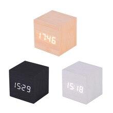 Creative LED Alarm Clock Cube Wooden Despertador Solids Voice Control LED Display Electronic Desktop Digital Clocks Calendar