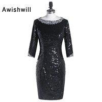 Custom Made 3 4 Sleeves Beaded Sequin Evening Dress In Black Short Party Dress For Women