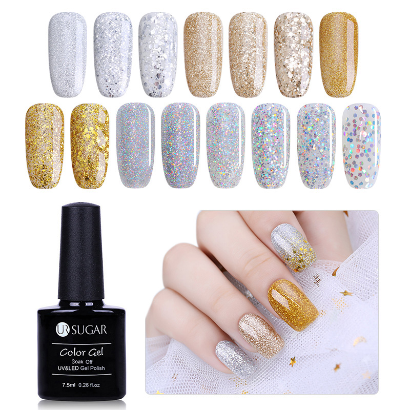 UR SUGAR 1 Bottle 7.5ml Champagne Gold Silver Gel Super Shine Glitter Diamond Manicure Soak Off UV Gel Polish