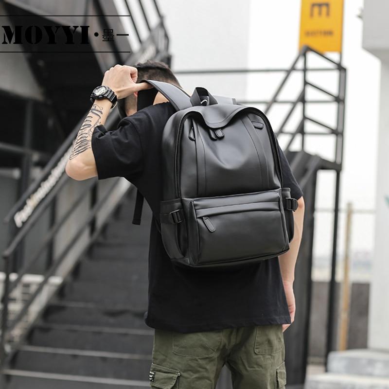 MOYYI 2019 Hot Sale Waterproof 14 inch Laptop Backpack Men Leather Backpacks for Teenager Travel Casual Daypacks Mochila Male|Backpacks| |  - title=