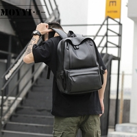MOYYI 2019 Waterproof 14 inch Laptop Backpack Men Leather Backpacks for Teenager Men Casual Daypacks Mochila Male