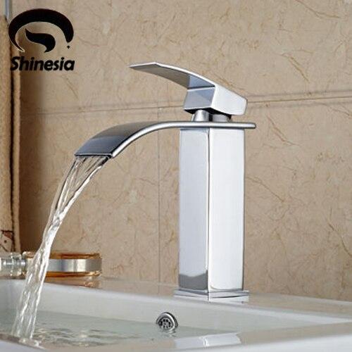 クローム仕上げ真鍮の浴室の滝の洗面器の蛇口シングルハンドルのミキサータップシンク排水  グループ上の 家のリフォーム からの 流域水栓 の中 2