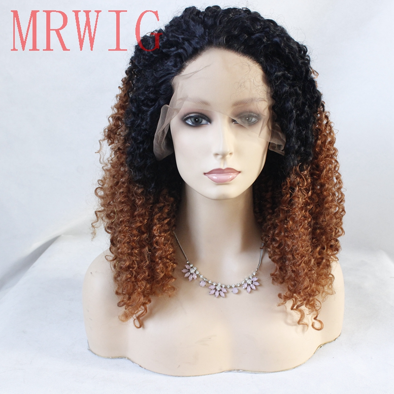 MRWIG 1b#Ombre#30 Auburn Kinky Curly Synthetic Lace Front Wig Glueless Heat Resistant Fiber Women Wigs Free Part 20In Real Hair