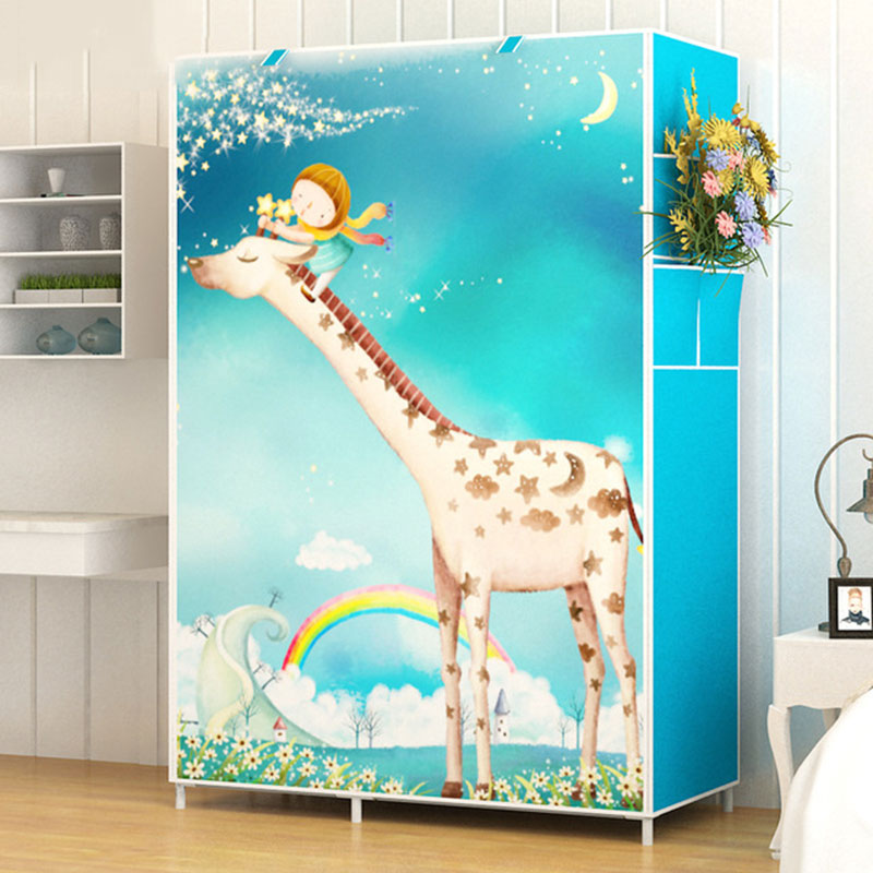 3D Cartoon Pattern Folding Cloth Wardrobe Closet Children Room Decorate Storage Cabinet Bedroom Assembly Wardrobe Home Furniture3D Cartoon Pattern Folding Cloth Wardrobe Closet Children Room Decorate Storage Cabinet Bedroom Assembly Wardrobe Home Furniture