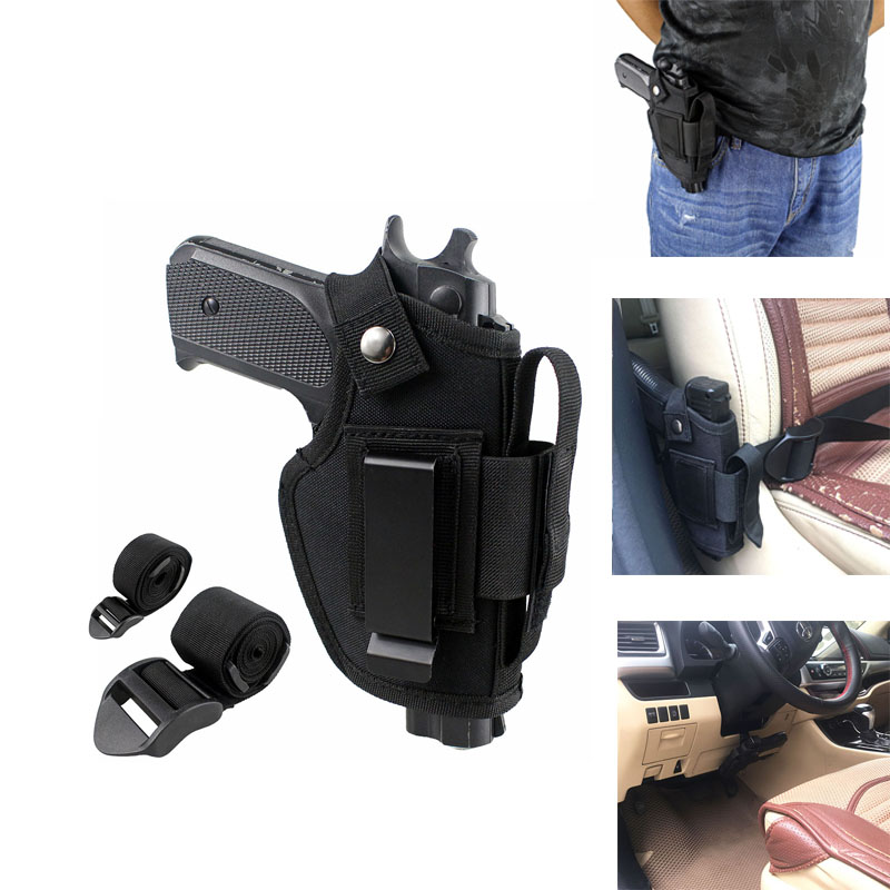 Tactical Gun Holster Concealed Belt Holsters IWB OWB Car Pistol Bag With Magazine Slot And 2 Strap Mounts Gun Accessories