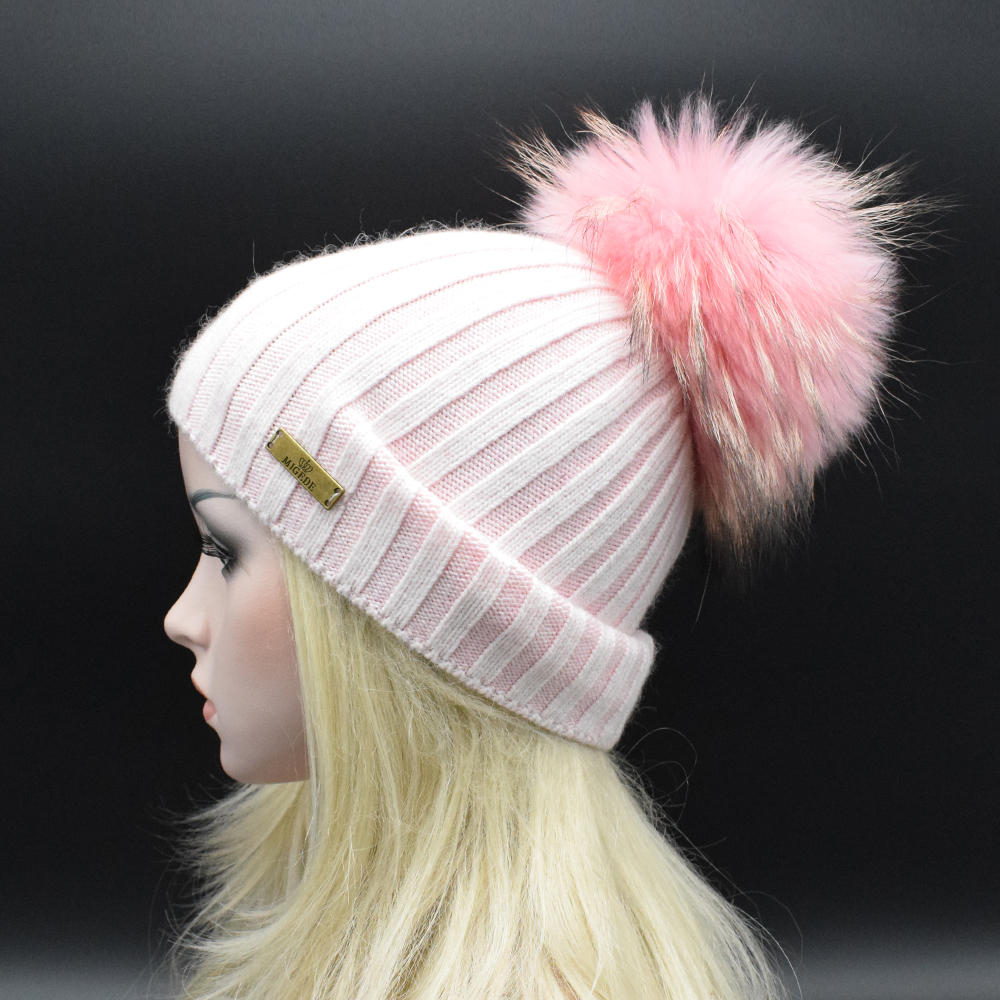 Hot sale New knitted hat fashion Women big Real Raccoon Fur pom pom Caps Mixed colors