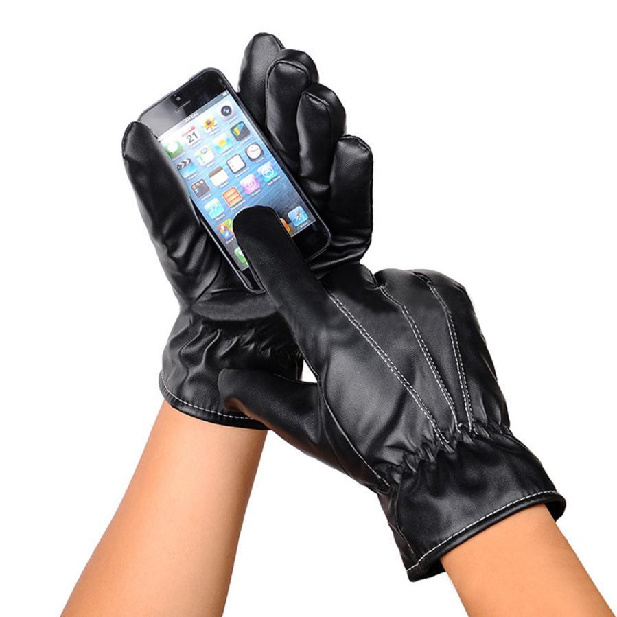 Fake leather driving gloves - Men Full Finger Gloves Pu Leather Gloves Mens Mitten Winter Leather Full Finger Screen Warm Driving Gloves Men 24cm