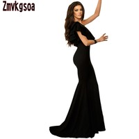 Zmvkgsoa Vestidos De Festa Vestido Longo Royal Blue Ruffle One Shoulder Elegant Mermaid Dress Party Maxi