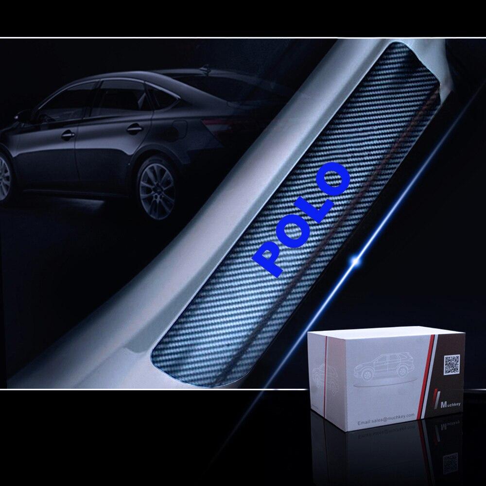 Защита порога автомобиля для Volkswagen VW Polo Накладка на порог двери Накладка 4D виниловая наклейка из углеродного волокна автомобильные аксессуары 4 шт