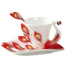 Pfau Kaffee Tassen Keramik Emaille Tasse mit untertasse gürtel löffel, Hochzeit geburtstag kreative geschenk fünf-farbe empfohlen