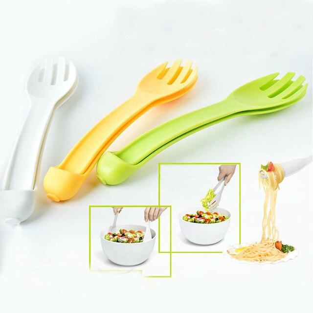 2017 Baru Kedatangan Dapur 2 In 1 Pengadukan Klip Makanan Multi Fungsi Plastik Salad Garpu