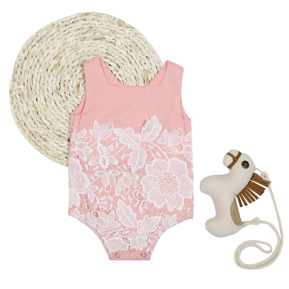 8a4ceca5e921 Newborn Baby Girls Bodysuit Lace Floral Pink Bodysuit Jumpsuit Funny ...