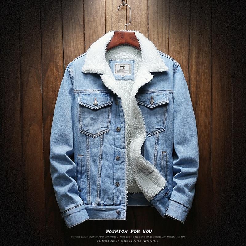 Light Blue Winter Jean Jackets Outerwear Warm Denim Coats Large Size Wool Liner Thicker Winter Denim Jackets Size6XL