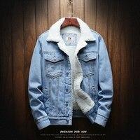 Men Light Blue Winter Jean Jackets Outerwear Warm Denim Coats New Men Large Size Wool Liner Thicker Winter Denim Jackets Size6XL