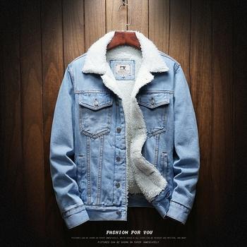 Mężczyźni jasnoniebieskie zimowe kurtki dżinsowe odzież wierzchnia ciepłe płaszcze dżinsowe nowi mężczyźni duże rozmiary wełniana wkładka grubsze zimowe kurtki jeansowe rozmiar6xl tanie i dobre opinie CLASSDIM Jednorzędowe Kurtki płaszcze REGULAR Wełniana podszewka NONE COTTON Szerokie w talii Stałe Z KIESZENIAMI