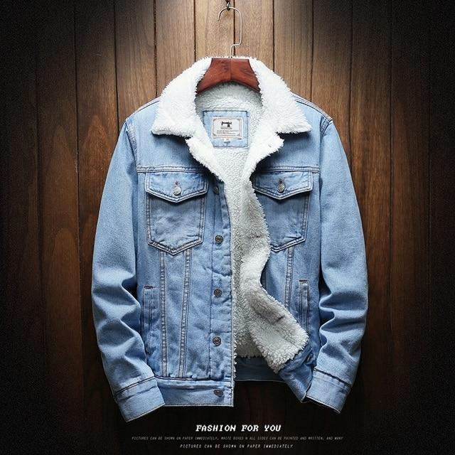 Men Light Blue Winter Jean Jackets Outerwear Warm Denim