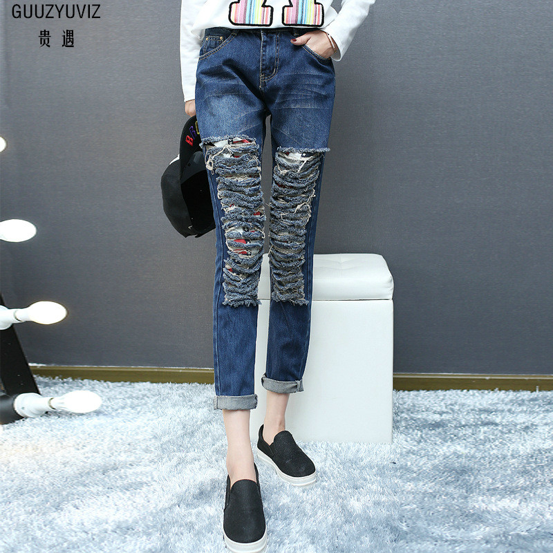 Women's Clothing Jeans Guuzyuviz Autumn Winter Casual Jeans Woman Cotton Elasticity Denim High Waist Plus Size Patch Work Washed Harem Pants Mujer
