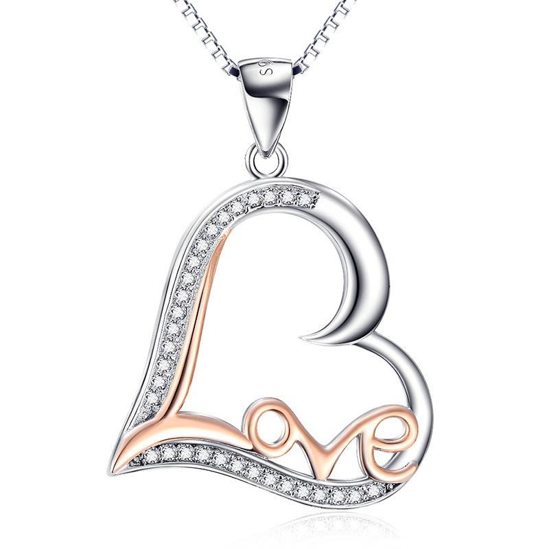 925 Sterling Silver Fine Jewelry LOVE Letter Heart Pendant Necklace Choker Women Girls Party Collar Gift Jewels CHX9977