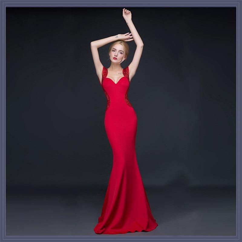 2018 Women Elegant Evening Wear Dress V neck Sexy Slim Fit Fish Tail  Reception Catwalk Annual Meeting Night Club Long Dresses -in Dresses from  Women s ... 1b20c46ba00b