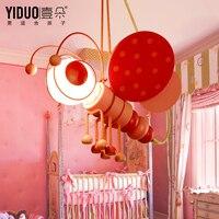 Cartoon Kid's Bedroom Bee Pink Blue Ceiling Pendant Lamp Babys Room Chandelier Fixtures Droplight