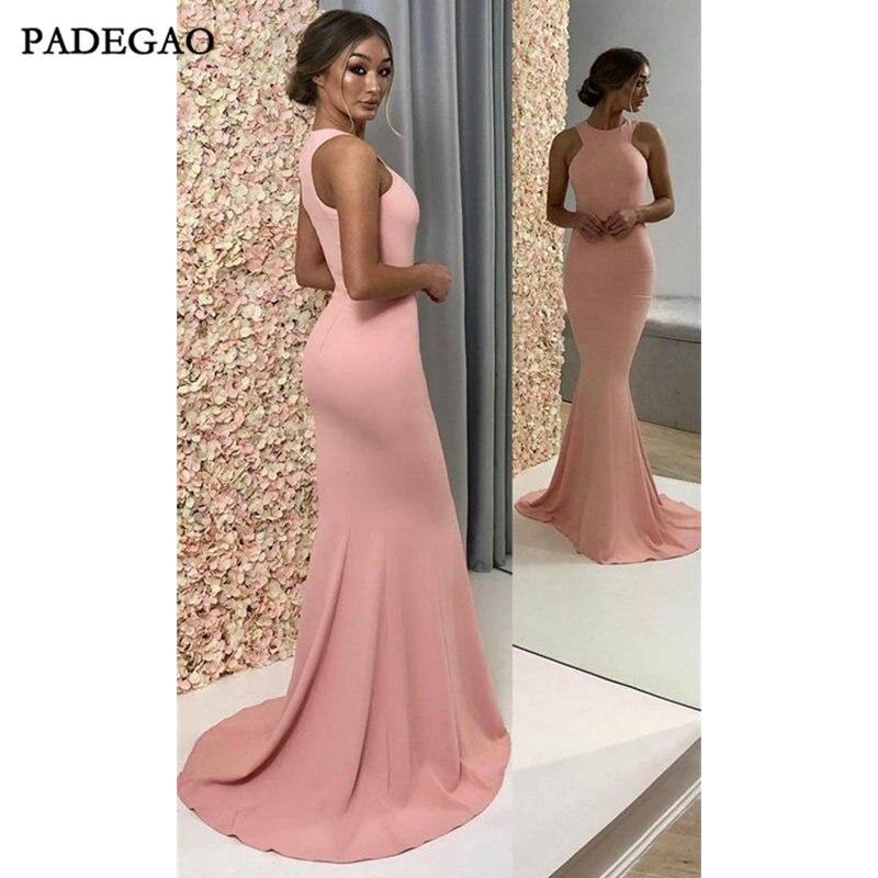 Robes de soirée roses simples robes de bal sirène sans manches Train de balayage robe de soirée formelle en Satin froncé
