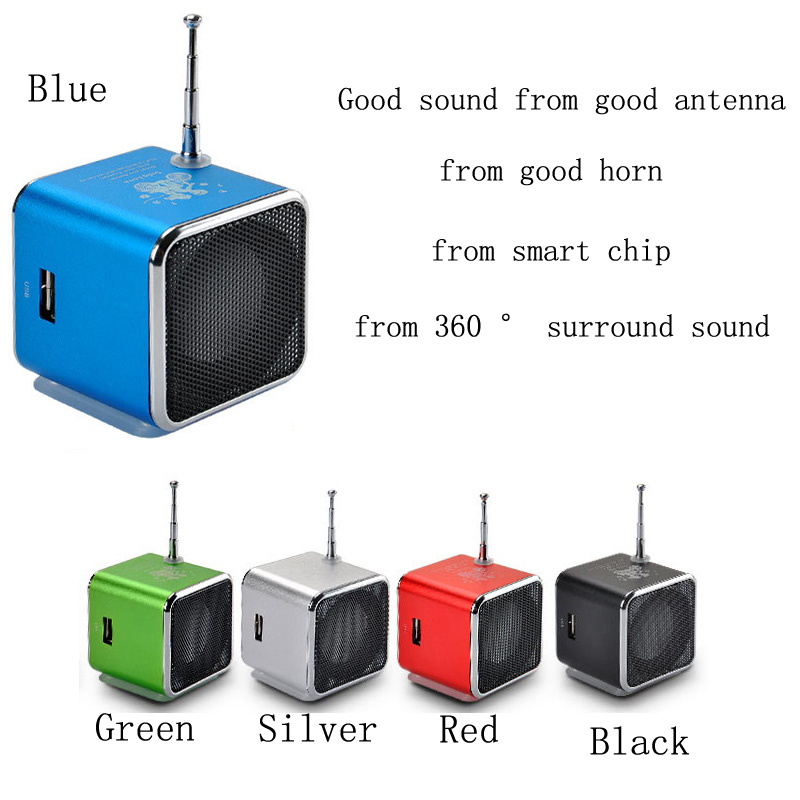 1PC 5 Colors To Choose From Portable Mini-LCD Screen Full-Range Radio Cube Speaker For The Card Car Phone Computer MP3 And So On image