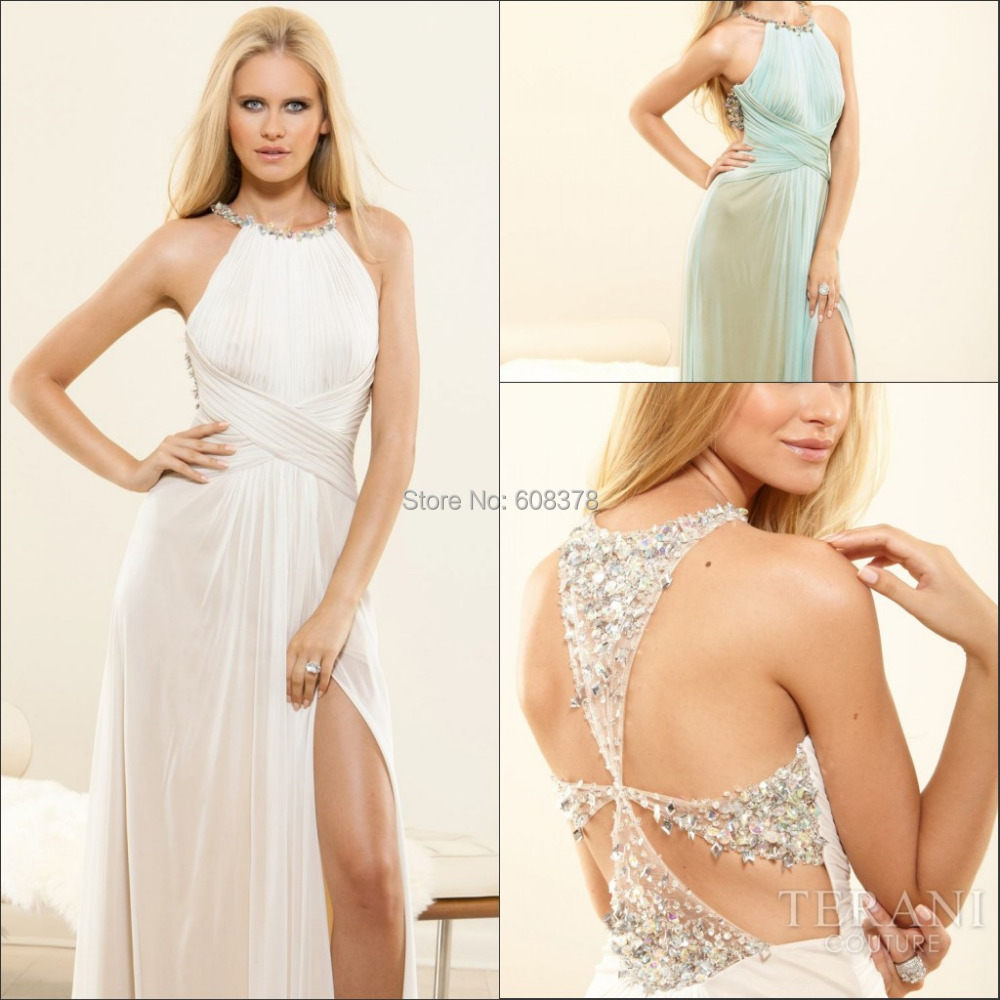Top Fashion White Jeweled Halter Strap Criss Cross Waist Full Skirt ...