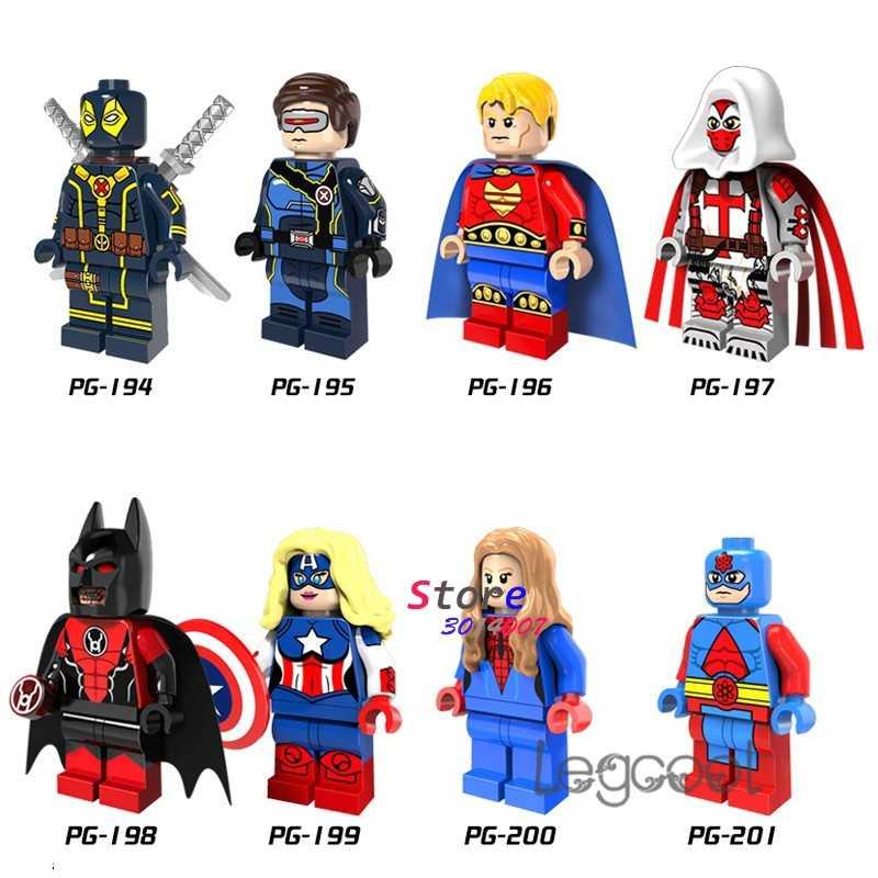 1PCS model building blocks superhero Deadpool Cyclops Death Angel Batman Captain America Spiderwoman Atom toys for children gift