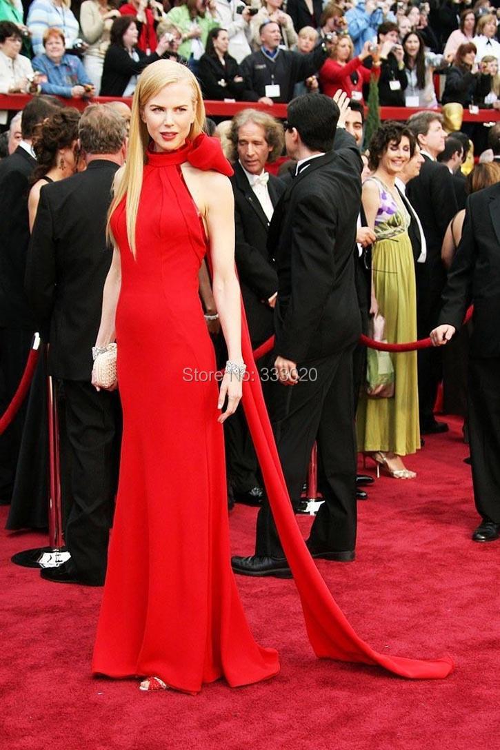 Nicole Kidman Red Halter Formal Dress Oscar Awards 2007 Red Carpet (1)