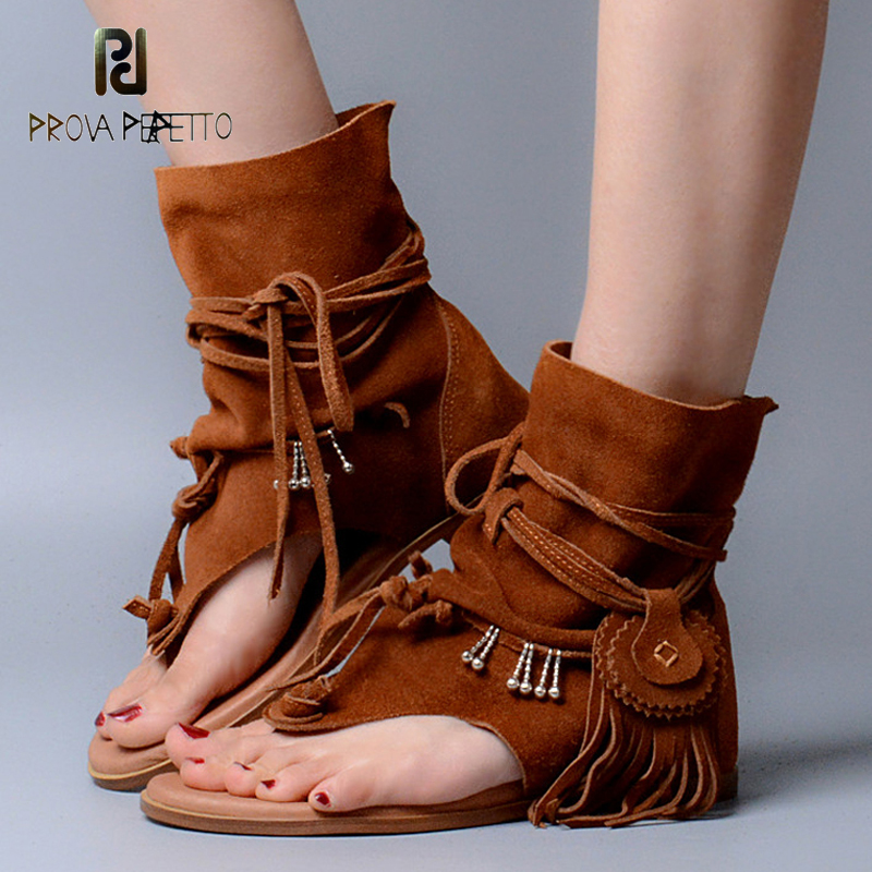 Prova Perfetto Bohemia Lady Summer Sandalias Thong Slip On Tassel Fringe High Quality Suede Leather Boots