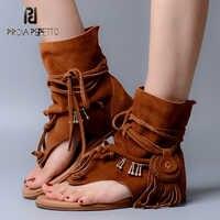 Prova Perfetto Bohemia Senhora Sandalias de Verão Tanga Deslizamento Tassel Fringe Botas Femme Sandália Sapato de Couro Camurça de Alta Qualidade
