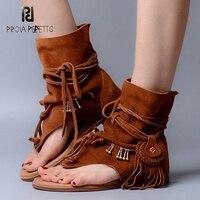 Prova Perfetto в богемном стиле летние женские Sandalias стринги слипоны с бахромой высокое качество замшевые кожаные ботинки сандалии Femme обуви