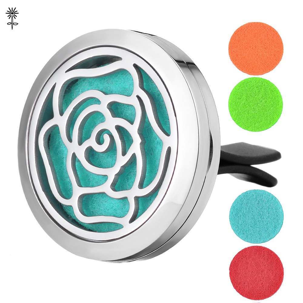 Perfume Diffuser Locket 30mm Stainless Steel Flower Aroma Essential Oil Necklace Pendant with 5 Easy -Switch Oil Pads VA-420