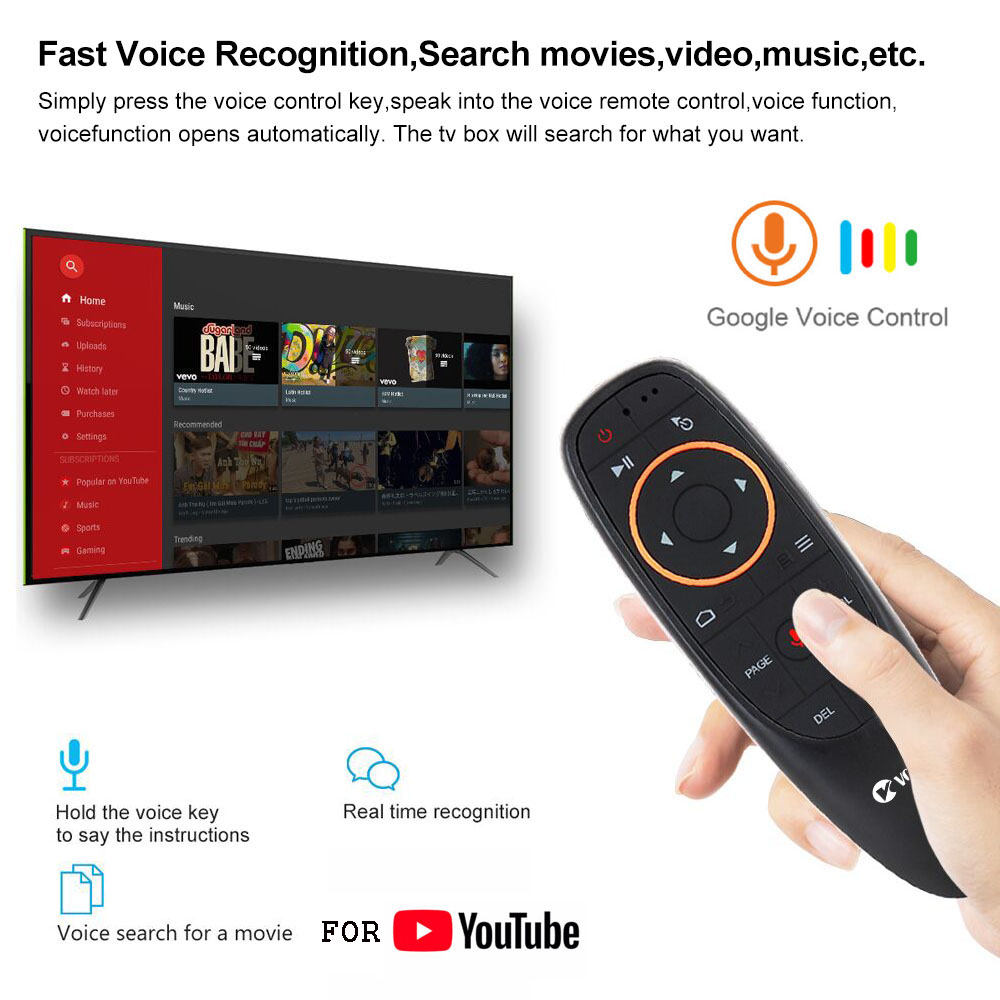 VONTAR G10 Voice Remote Control 2.4G Wireless Air Mouse Microphone Gyroscope IR Learning for Android tv box T9 H96 Max X96 mini