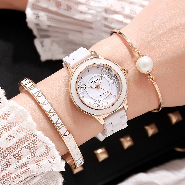 2018 GEDI Fashion Ceramics Women Watches Top Luxury Brand Ladies Quartz Watch 3 Pieces Bracelet Watch Relogio Feminino Hodinky kimio brand fashion luxury ceramics women watches imitation clock ladies bracelet quartz watch relogio feminino relojes mujer
