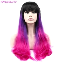 JOY BEAUTY Hair Long Silky Straight Cosplay Wig High Temperature Fiber For Wigs Natural Black Blue