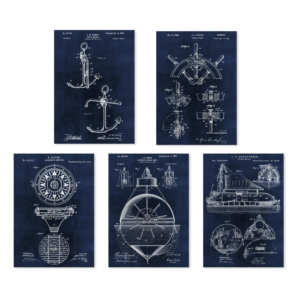 Vintage patent art on ship accessary steering wheel ships anchor compass lifeboat singal buoy 5 in 1 art prints unframed