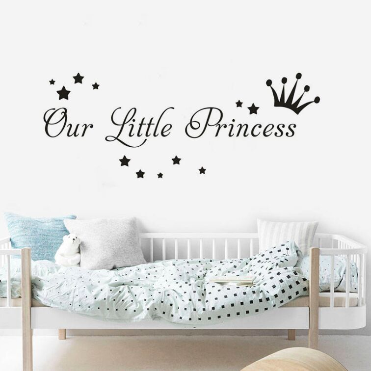 Our Little Princess Wall Sricker Crown And Stars Wall Decal Kids Room Nursery Decor Removable Princess Wall Vinyl Mural AY1415