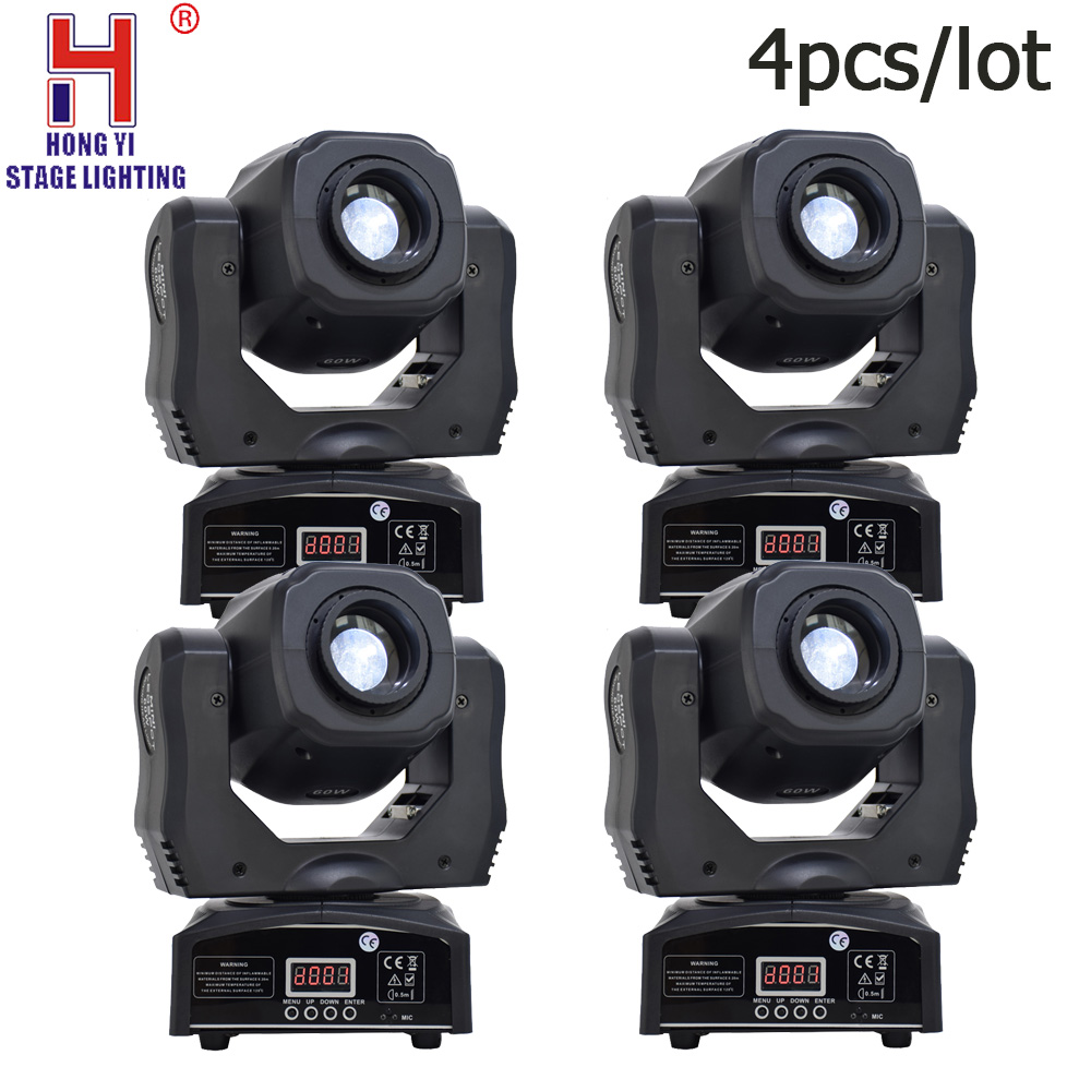 Led 60w gobos moving head light mini rgbw 4in1 spot lights multi-pattern color mixing for dj stage lighting 4pcs/lot
